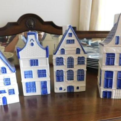 Beautiful Hand Painted Delft Blue Cannister Village Set 8