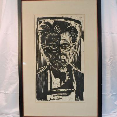 Werner Drewes Self Portrait Woodcut Signed Numbered