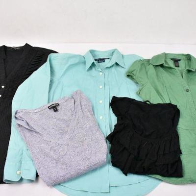 5 Piece Women's Tops: Express S & M, Ralph Lauren 4, Banana Republic S & 6