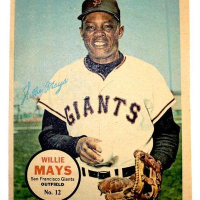1967 TOPPS WILLIE MAYS #12 PIN-UP MINI POSTER - EX - EXCELLENT