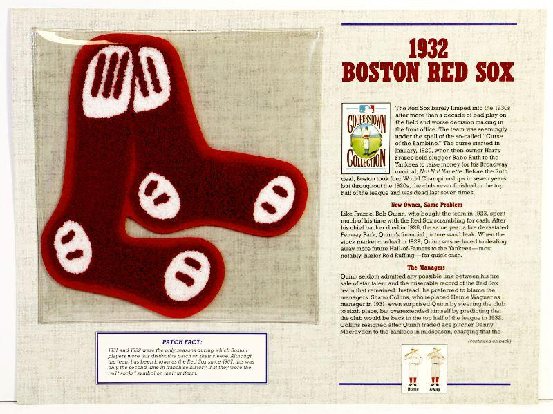 1932 BOSTON RED SOX Cooperstown BASEBALL TEAM PATCH Willabee /& Ward ~ PATCH ONLY