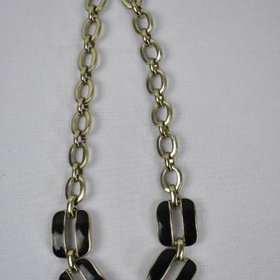 Costume Jewelry Necklace: Gold Tone & Black