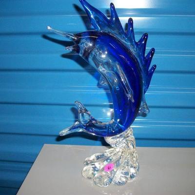 Art Glass Swordfish Figurine/Paperweight