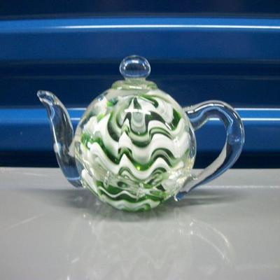 Green and White Striped Encased Tea Pot Figurine/Paperweight