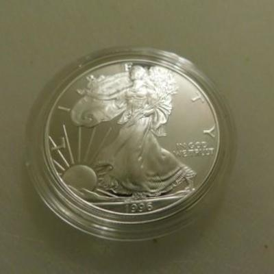 U.S. One Troy Ounce 1996 P Fine .999% Silver Eagle $1 Coin UNC in Velvet Box Case