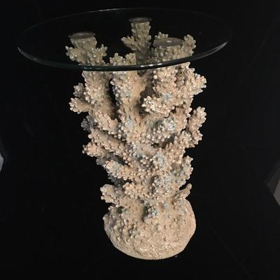 Lot 2 - Glass Top Table with Faux Coral Base