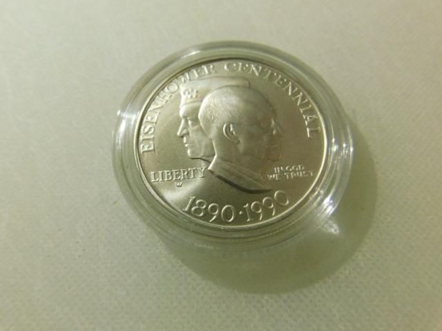 1990 Eisenhower Proof Silver Dollar in Velvet Case with COA