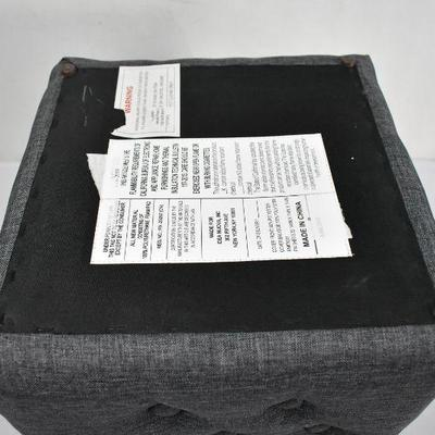 Mainstays Charcoal Tufted Linen Pouf - New, Missing 1 Foot