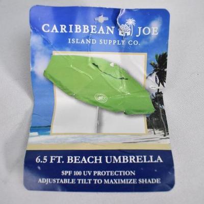 Caribbean Joe 6.5 Foot Beach Umbrella, Green - New