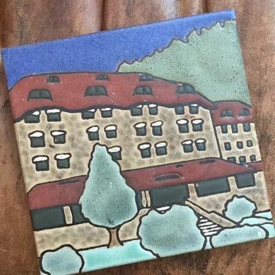 Lot 1- Grove Park Inn Tile and Signed History Book