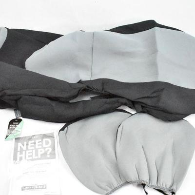 2 Bucket Seat Covers with Headrest Covers, Black & Gray - New Without Box