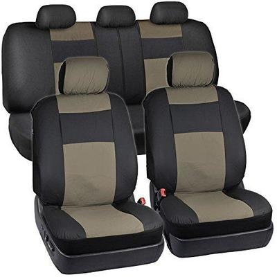 Seat Covers, Black and Brown, 2 Bucket Seats, Backseat, 5 Headrests - New