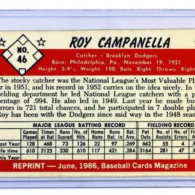 Roy Campanella Bowman #46 1953 - REPRINT Baseball Card 1986 Baseball Cards Magazine