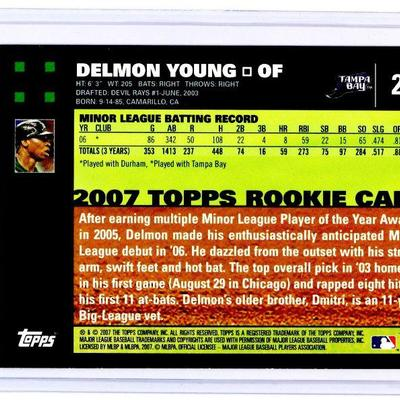 2007 TOPPS #20 DELMON YOUNG RC ROOKIE BASEBALL CARD - MINT