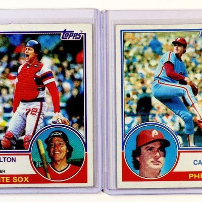 1983 TOPPS #20 CARLTON FISK #70 STEVE CARLTON BASEBALL CARDS SET - EX
