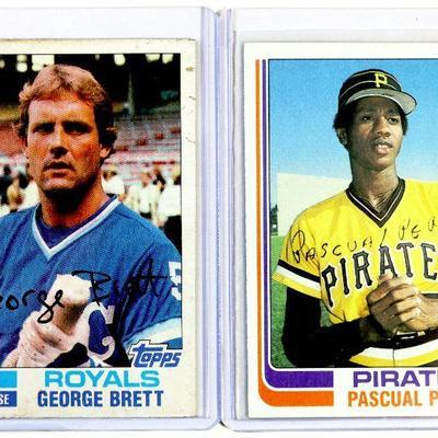 1982 TOPPS #195 #200 #383 MOLITOR / BRETT / PEREZ - 3 BASEBALL CARDS SET - EX