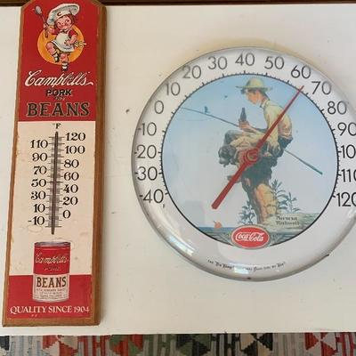 ORIGINAL CAMPBELLS SOUP THERMOMETER AND COCA COLA THERMOMETER