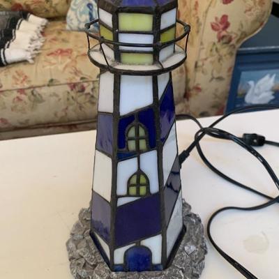 TIFFANY STYLE LIGHTHOUSE LAMP