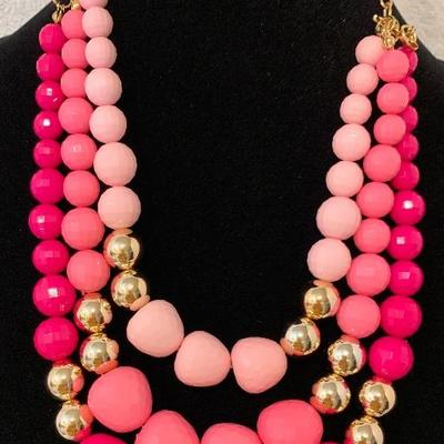 Three Strand Pinks & Gold Necklace. Really makes a statement. - NEW
