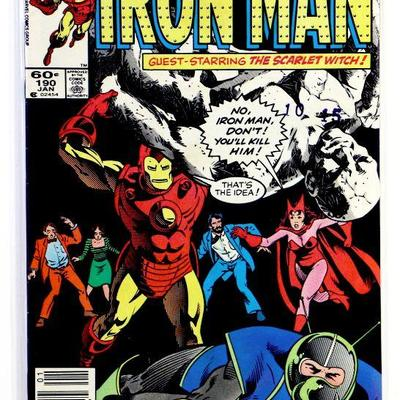 IRON MAN #190 Copper Age Comic Book Tony Stark/Scarlet Witch - 1985 Marvel Comics VF/NM