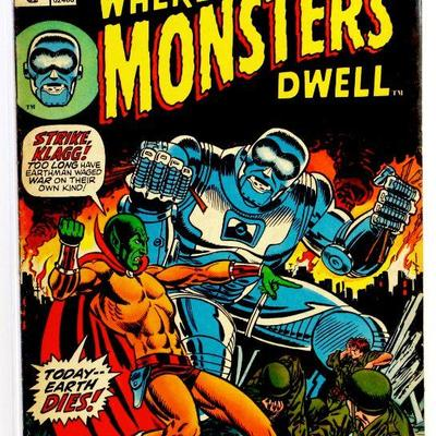 WHERE MONSTERS DWELL #20 Bronze Age Comic Book Jim Starlin Cover 1973 Marvel Comics VG/FN