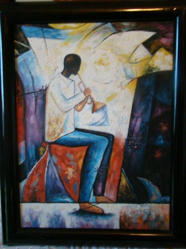 """Horn Player 12"""" x 16"""" Frame has signs of wear, a few scratches"""