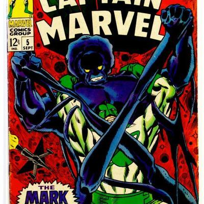 CAPTAIN MARVEL - Marvel's Space Born Super-Hero #5 Silver Age 1968 Marvel Comics VG