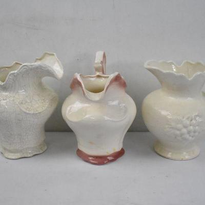 3 Large Porcelain Pitchers: One Pink/Cream & Two Cream