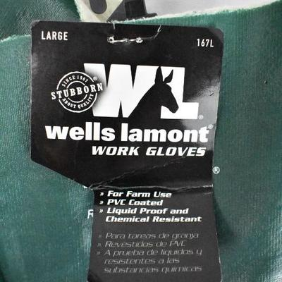 Wells Lamont Work Gloves Size Large, Green - New