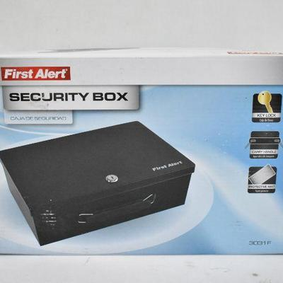 First Alert Security Box with Key, Carry Handle, & Protective Mat - New