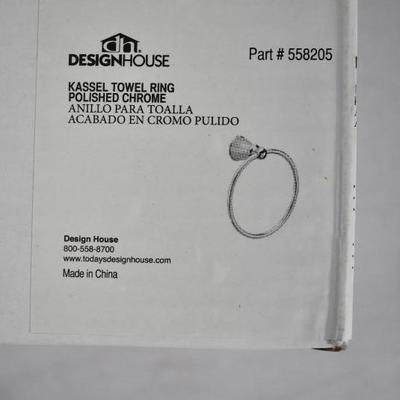 Design House Kassel Towel Ring, Polished Chrome Finish, with Hardware - New