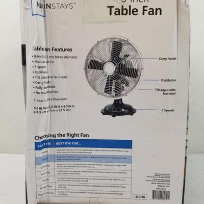 Mainstays 8-Inch Metal Table Fan - New