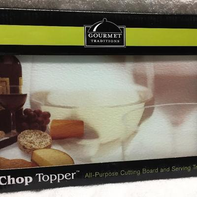 New Gourmet Traditions Chop Topper All-Purpose Glass Cutting Board & Serving Tray 12