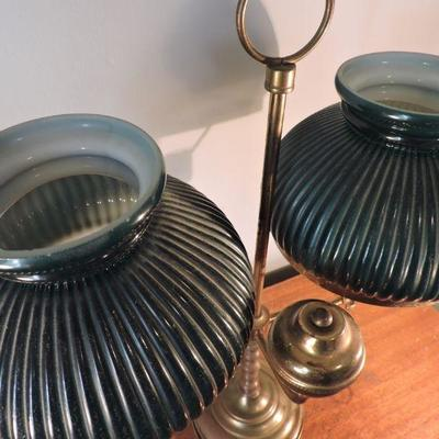 Vintage Double Arm Student Brass Lamp with Green Shades