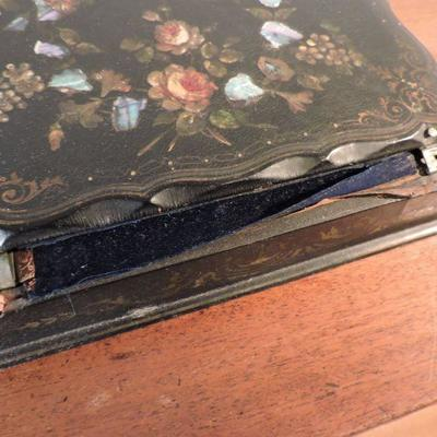 Antique Writing Slope Lap Desk Hand-painted & Inlay Mother Of Pearl