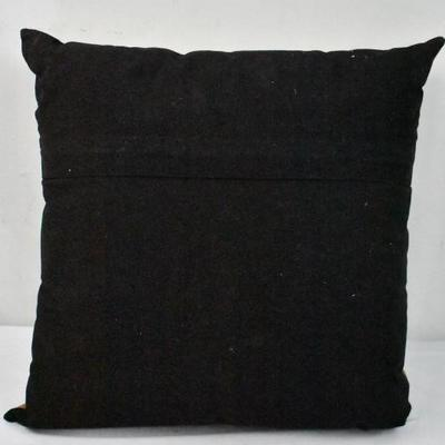 MoDRN Industrial Cow Leather Decorative Throw Pillow, 16