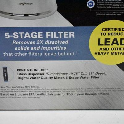 ZeroWater 2.5 Gallon Filtered Glass Water Dispenser - Tested, Works