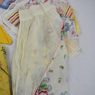 9 Piece Vintage Fabrics: 4 Hot Pads, 2 Aprons, 1 Blanket, and 2 Hankies