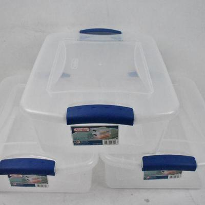 Lot of 3 Sterilite Storage Bins with Latching Lids: 15 Quart Each - New
