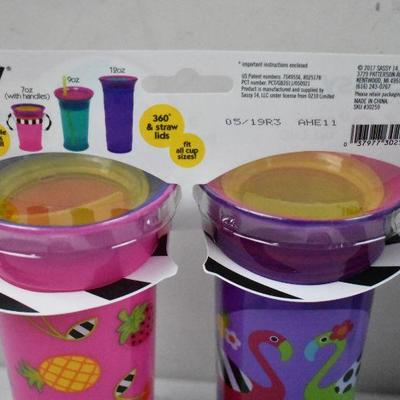 Sassy No Spill Spoutless Sippy Cup, Two 2-Packs 12 oz Each - New