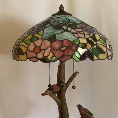 Lot 1 - Tiffany Style Bird Lamp