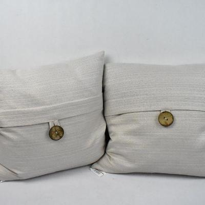 BH&G Feather Filled Banded Button Throw Pillow, 20