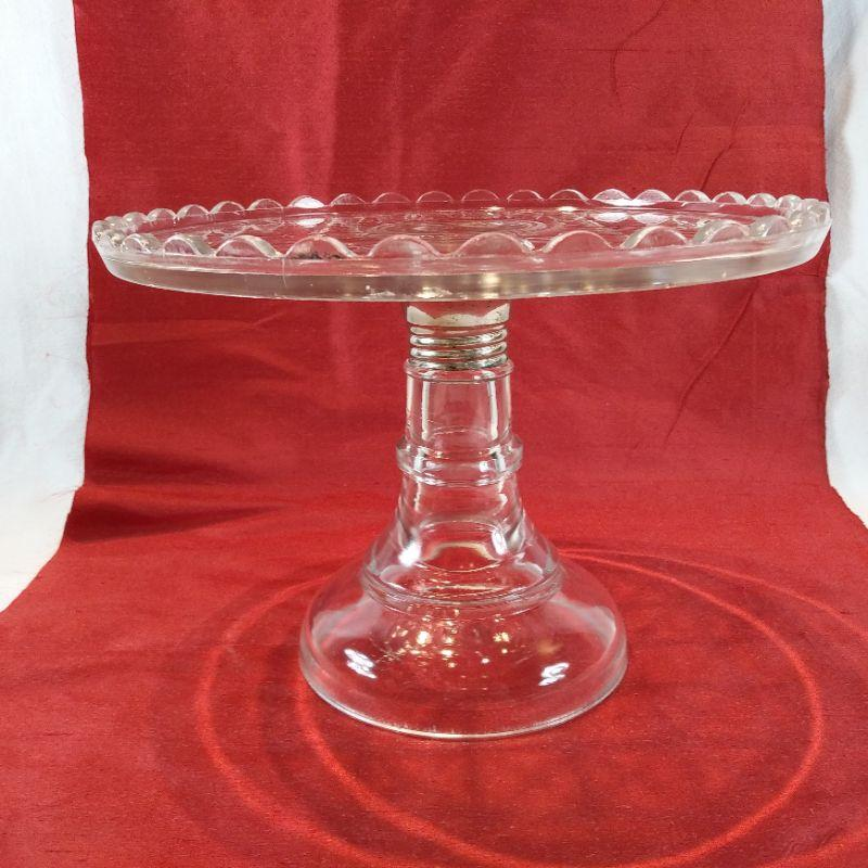 Vintage Cake Plate With Silver Collar Estatesales Org