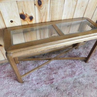 Wood with Glass Insert Sofa Table 48