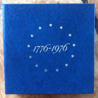 Lot # 1 1776-1976 U.S. Bicentennial 3-Coin Silver Proof Set – $1 , 50C & 25C (w/Coin Folder)