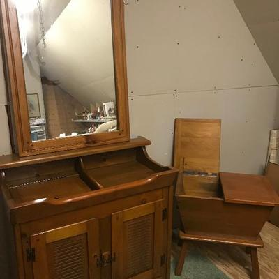 Lot # 172 3pc Colonial Dry sink, Dough box, Mirror