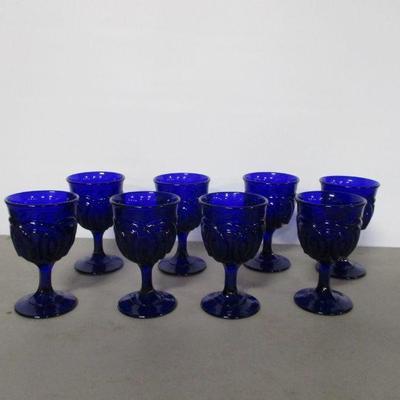 Lot 3 - 8 Cobalt Blue Embossed Glass Goblets