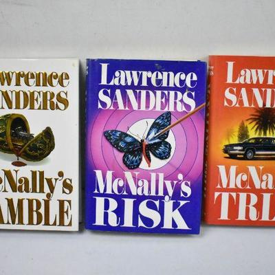 3 Hardcover Books by Lawrence Sanders: McNally's Gamble/Risk/Trial