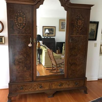 Antique inlaid armoire with beveled mirror  NOW $747.50 70 X 21 X 94