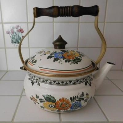 Beautiful Asta Germain Painted Enamel and Brass Tea Kettle